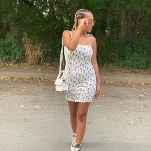 Mini white floral dress